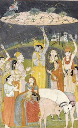 Krishna lifts Govardhana Hill (By Mola Ram, Public Domain via Wikimedia Commons)